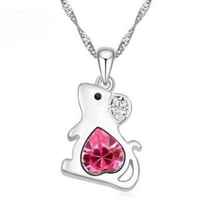 DVACRA1.2 collier-rat-avec-un-coeur-en-cristal-de-swarovski-rose