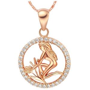 Magnifique collier signe astrologique plaqué or et cristal